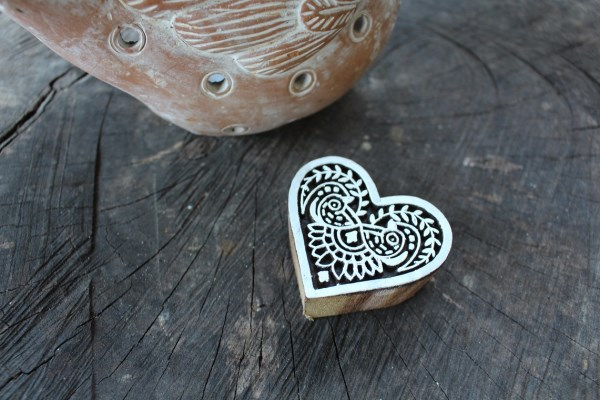 in ta dh16 block print stamp bird love heart